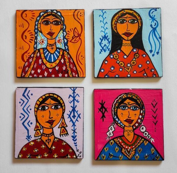 Berber women, small acrylic paintings, Berber women, acrylic on wood, Berber art, 10 × 10 centimeters.