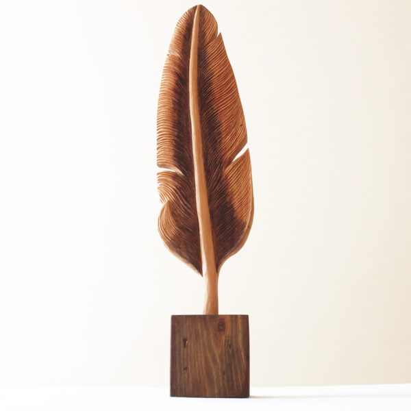 Hand Carved Wood Feather, Handcrafted, Woodworking