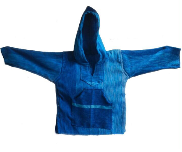 Blue Handmade Natural Thick Cotton Hoodie - Ouafra